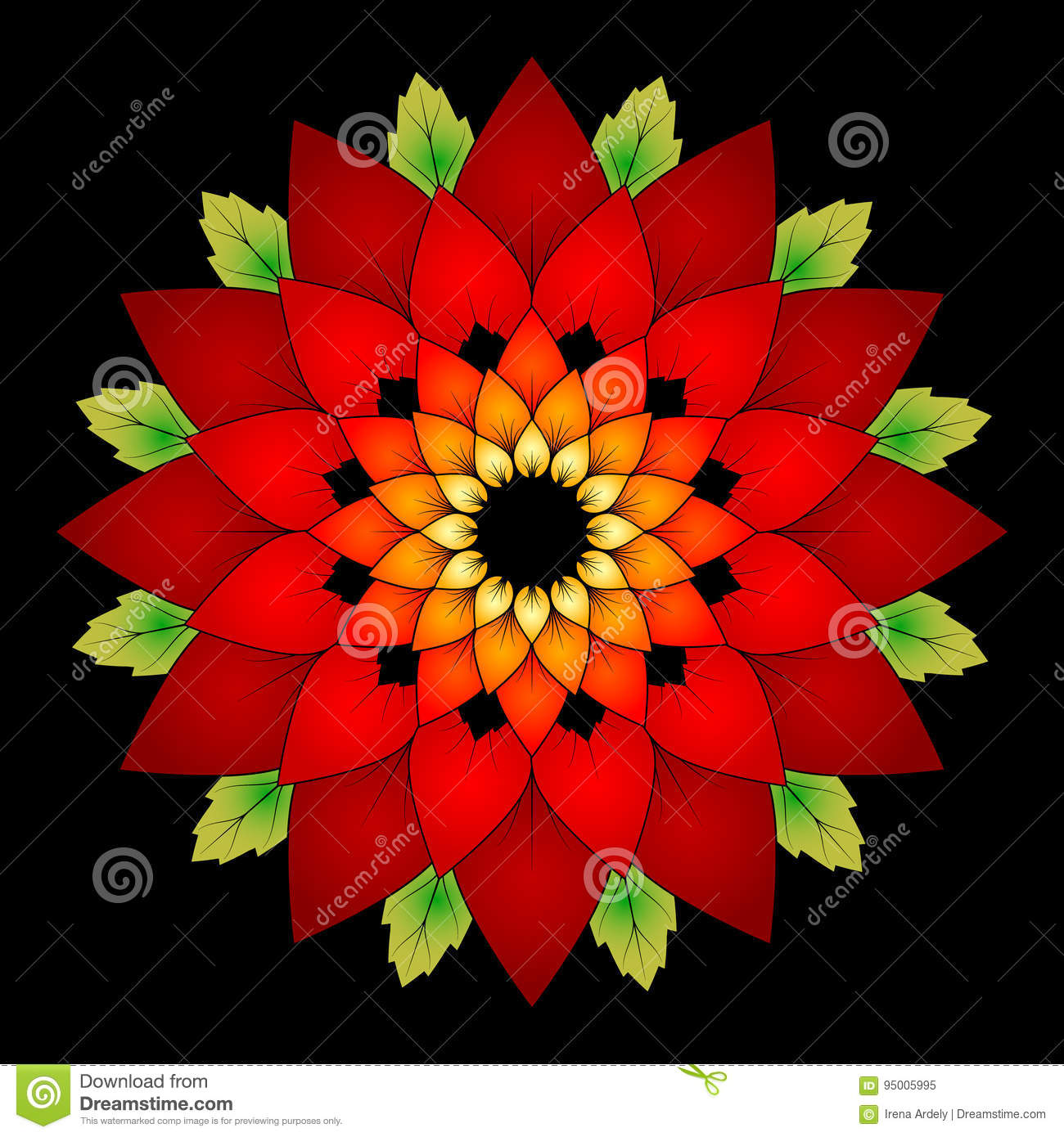 Vector Vibrant Red Colored Natural Mandala On Black Background