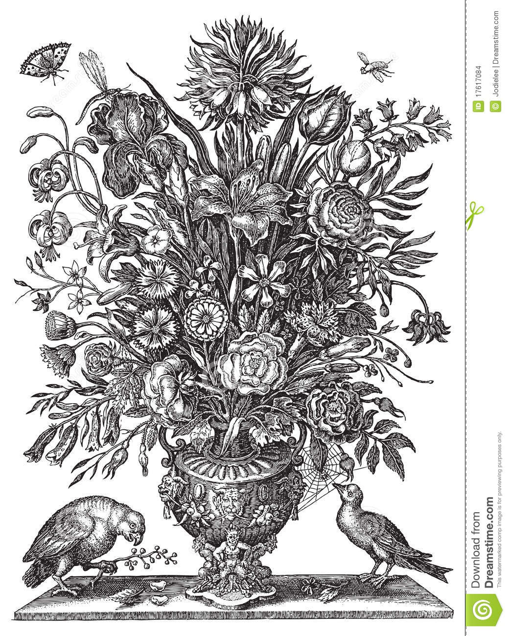 Clip Art Bouquet Of Flowers Black And White Images & Pictures - Becuo