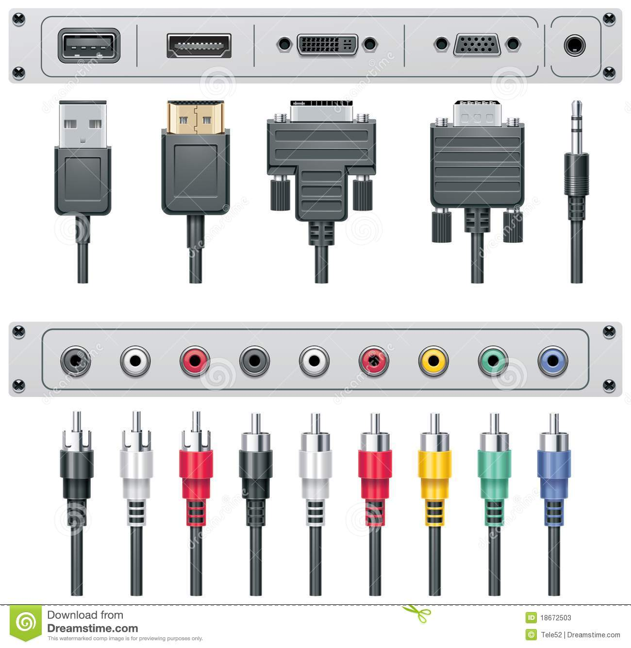 Vector Video And Audio Connectors Stock Photos Image