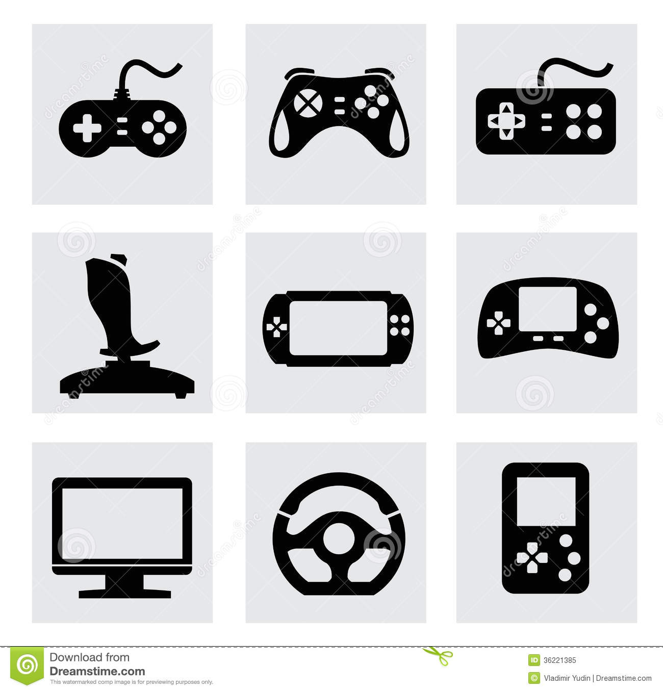Vector Video Game And Joystick Icons Set Royalty Free Stock Photo ...