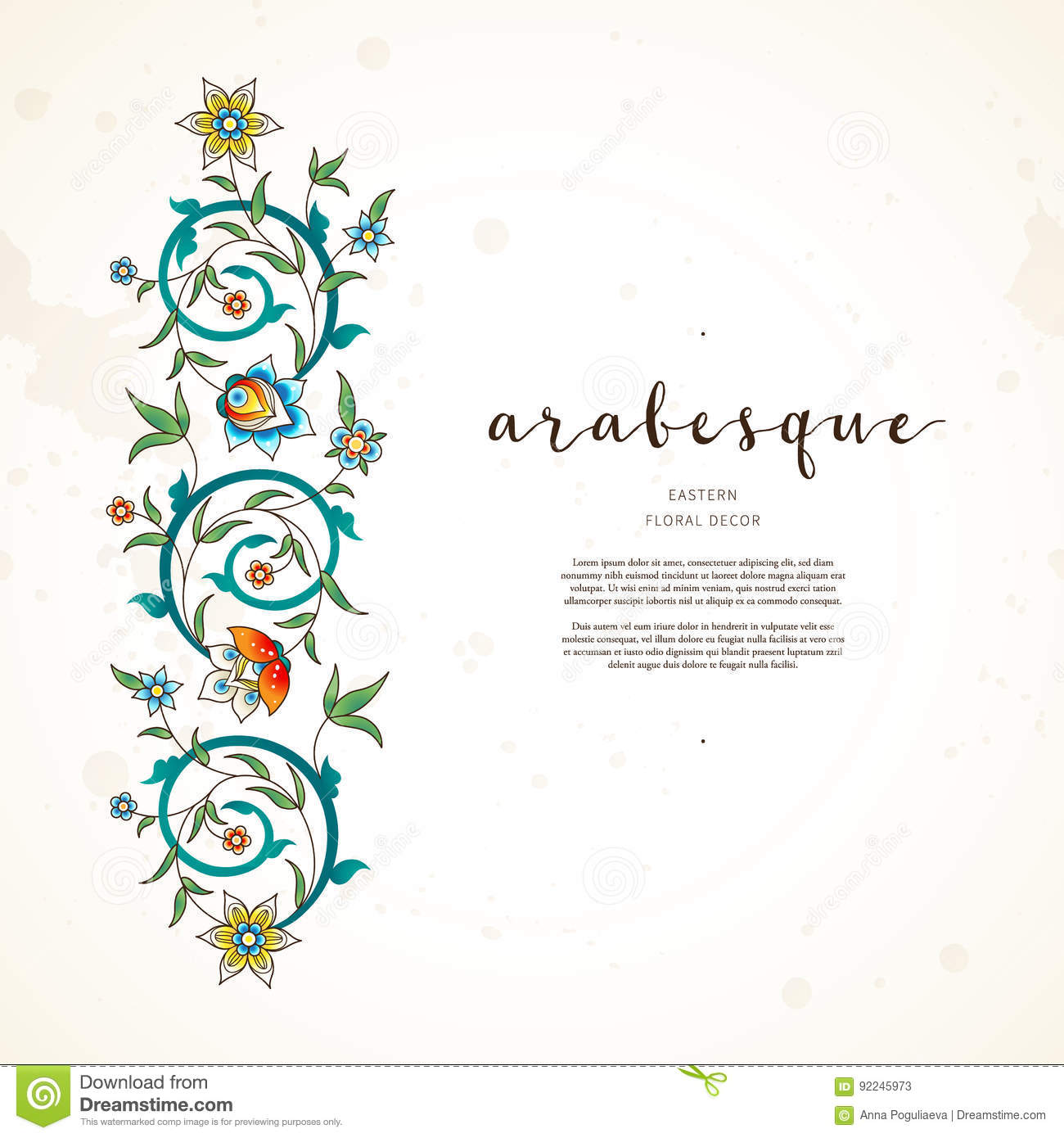 Vector vignettes decor in eastern style stock vector for Arabesque style decoration