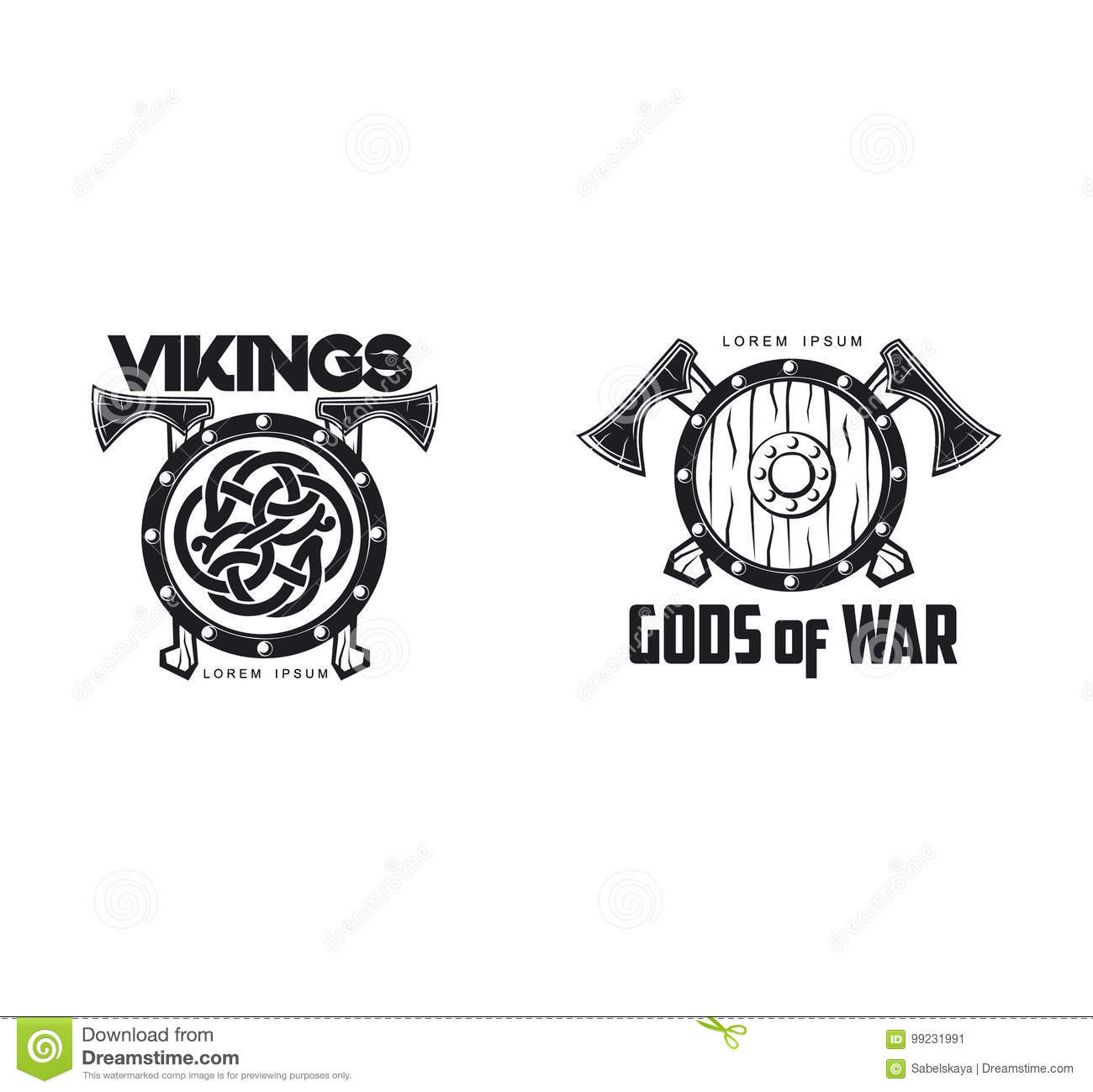 1633bb4967972 Vector vikings gods of war icon logo template design set simple flat  isolated illustration on a white background. Axes and shield with pattern  image
