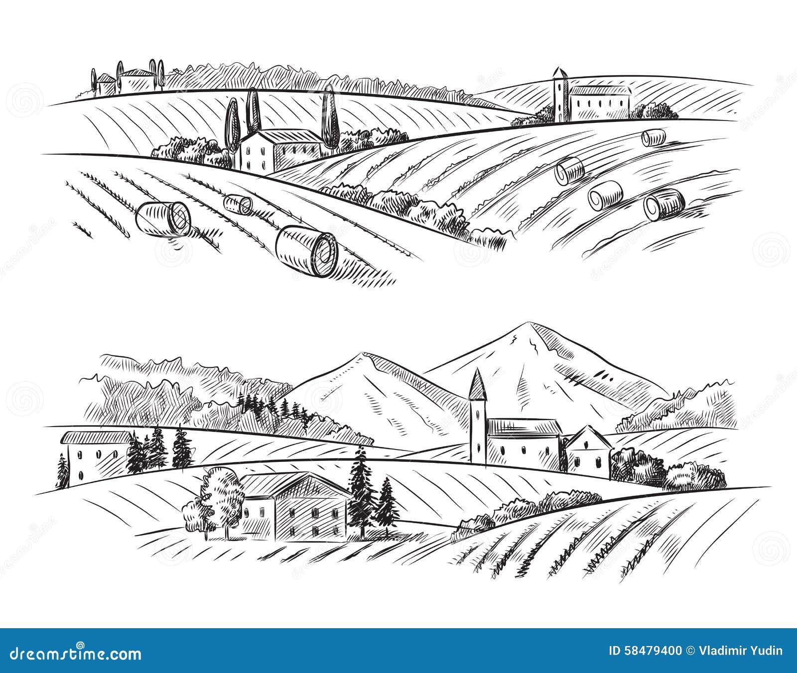 Vector village sketch and nature stock vector image - Village dessin ...