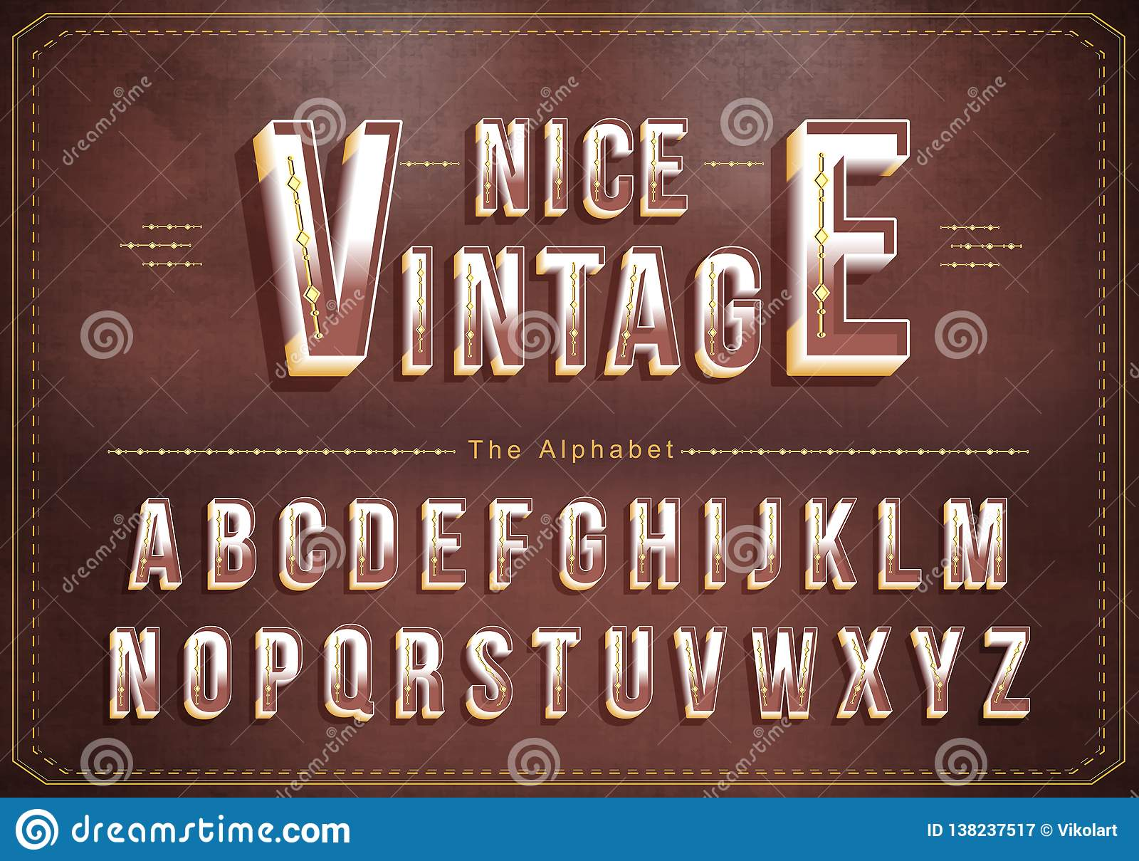 Vector of Vintage alphabet and bold font. Exclusive Vintage Letters Typography
