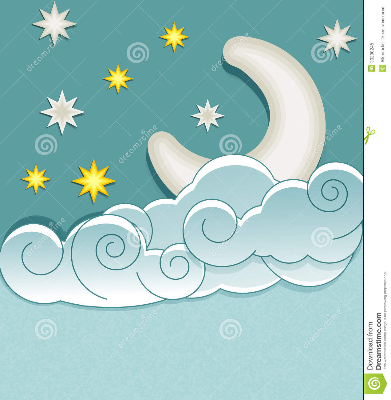 Vector Vintage Background With The Moon Stock Vector ...