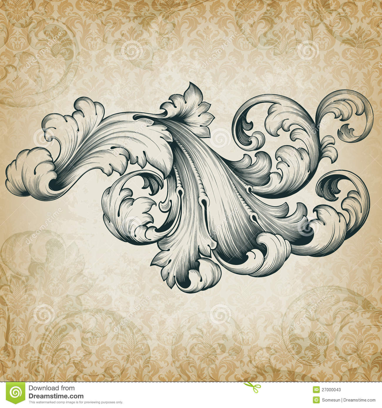 Antique Scrollimgs: Acanthus Scroll Vector Illustration