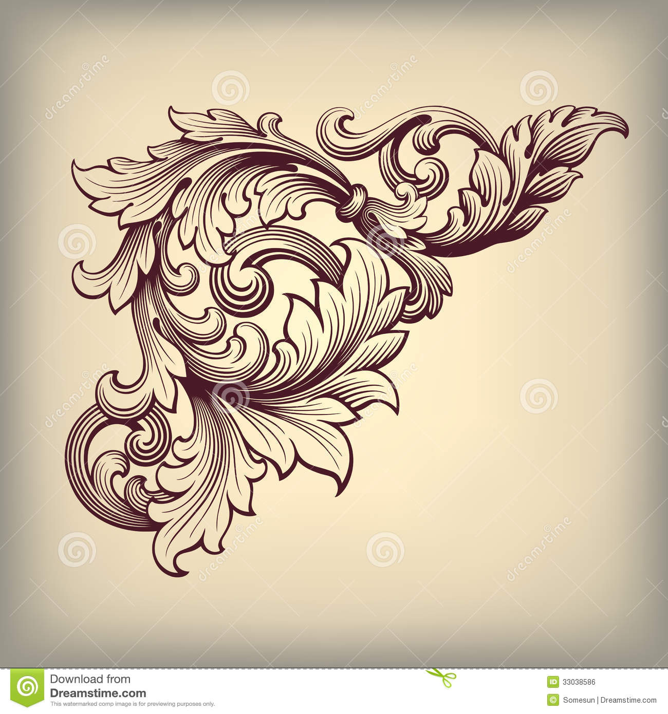 Vector vintage baroque frame corner ornate royalty free for Baroque architecture elements