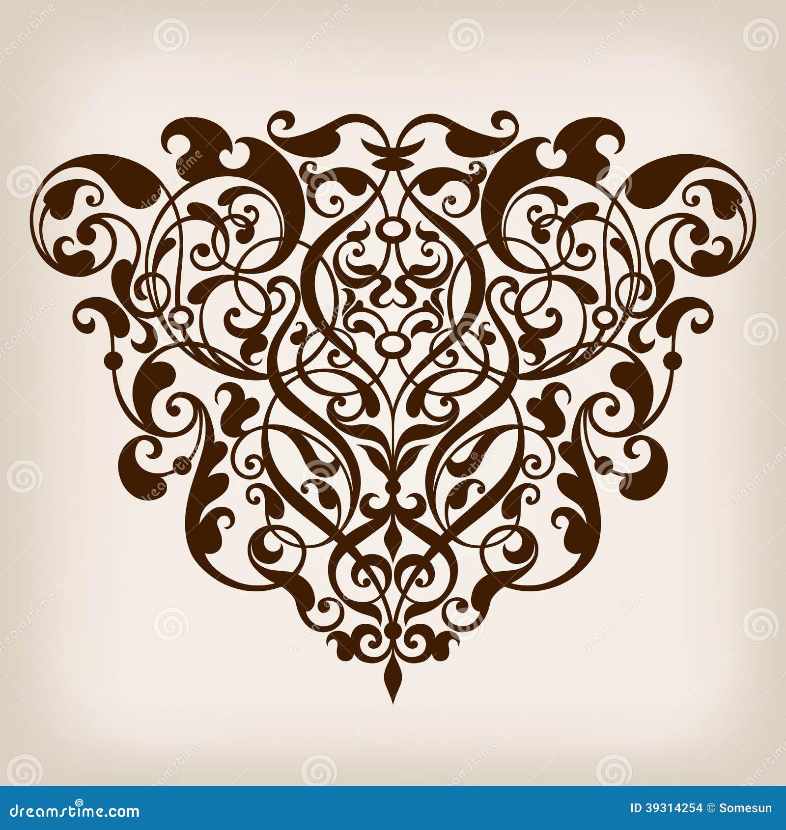 Vector vintage Baroque scroll design frame corner pattern element ...