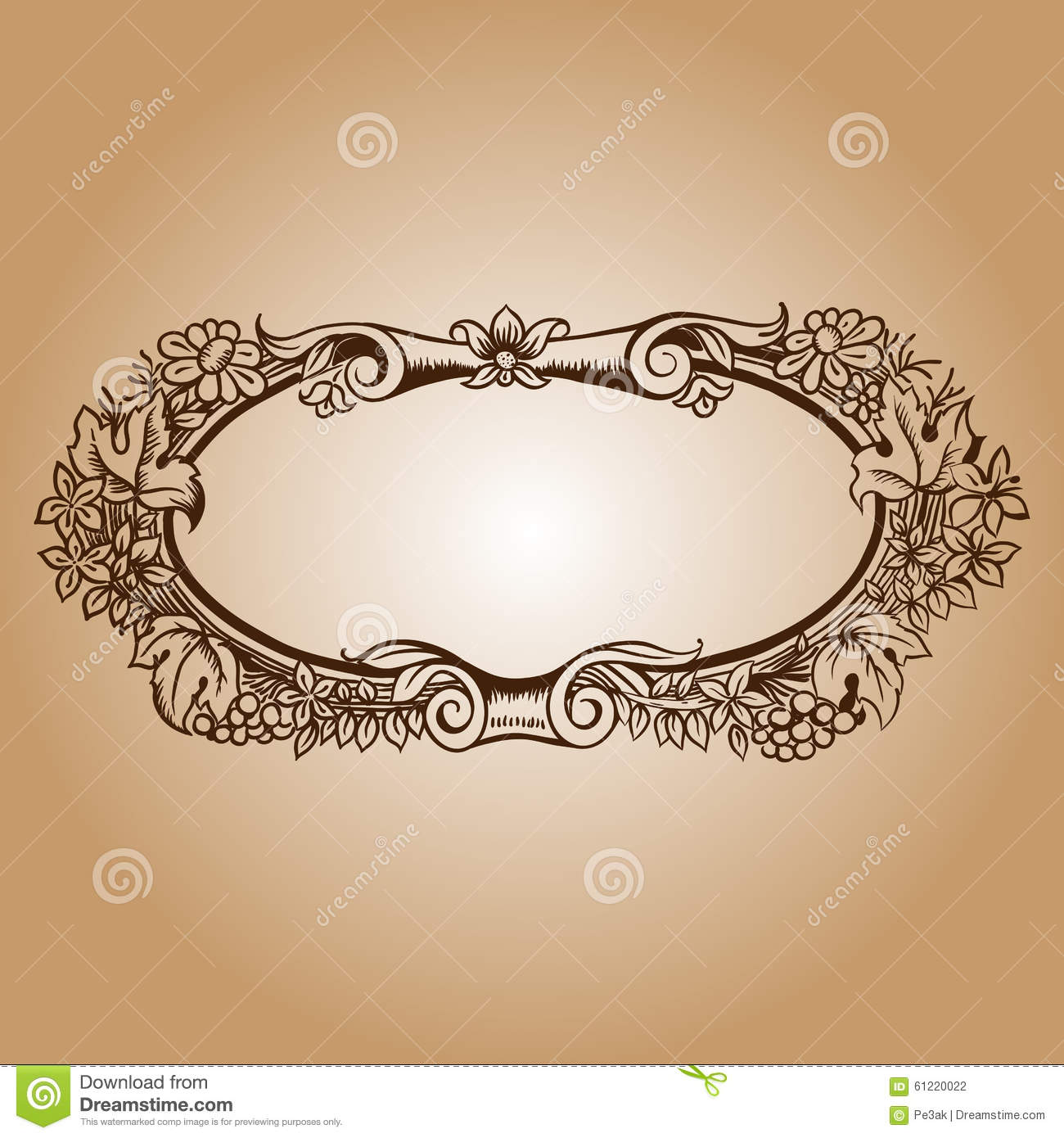 Vector vintage border frame engraving with retro ornament for Rococo decorative style