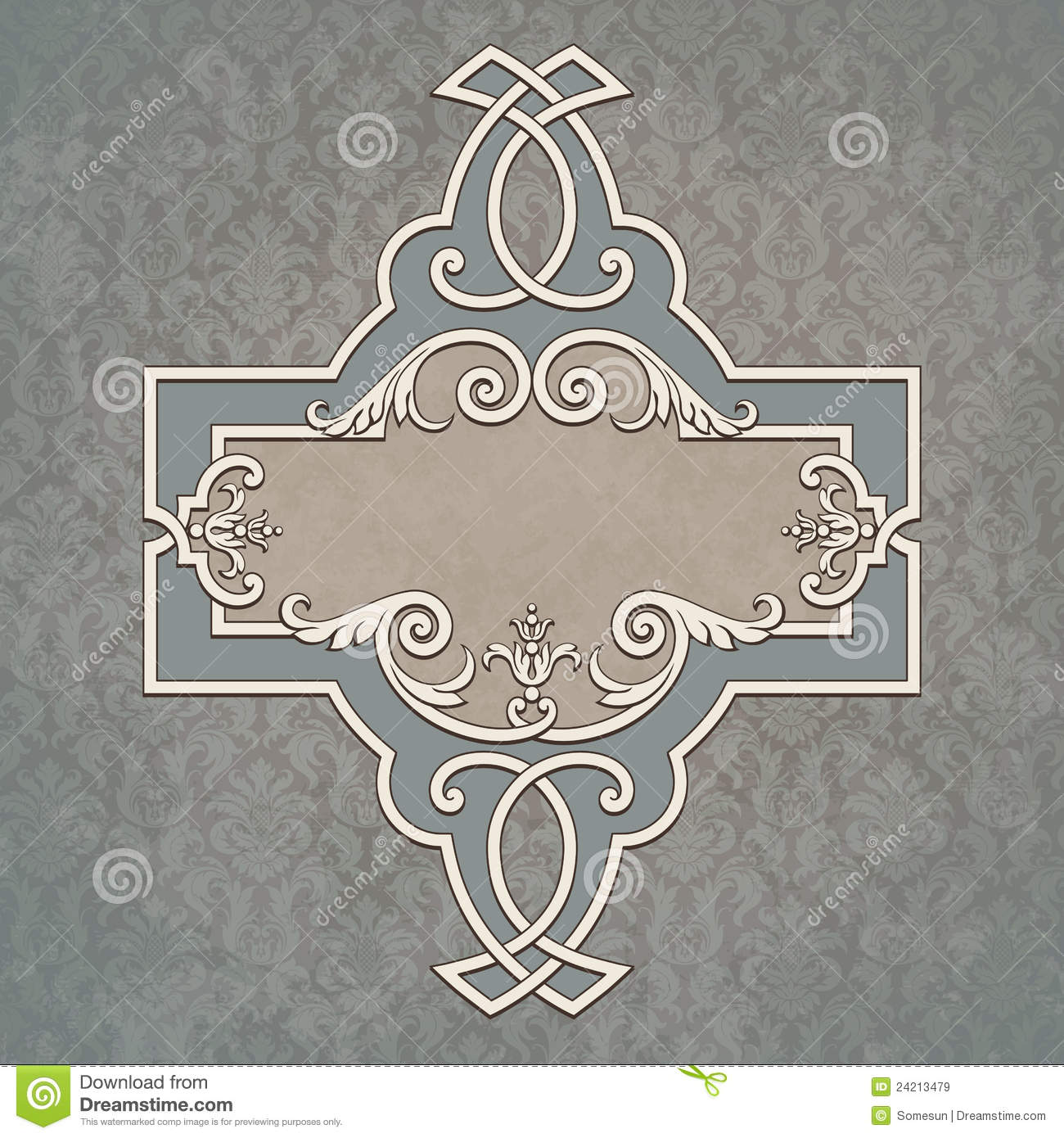 Vector Vintage Border Frame At Grunge Background Royalty ...