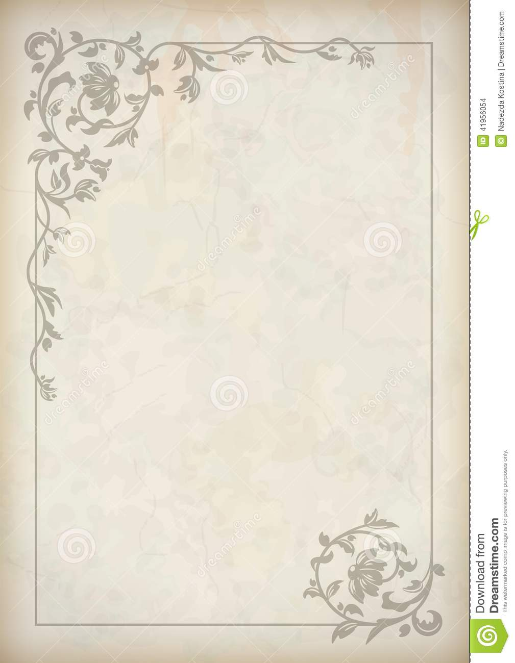 Vector vintage border frame at grunge textured old paper background ...