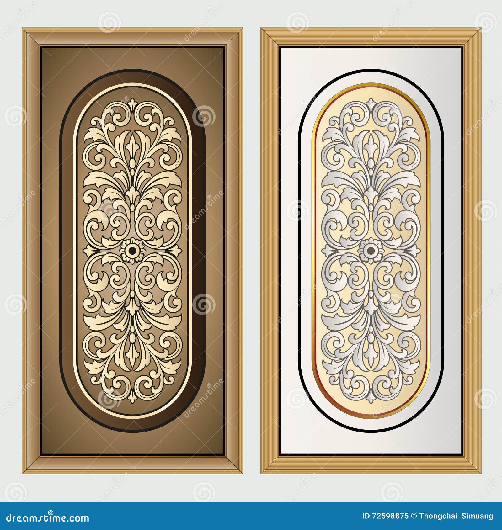 Antique label vintage frame design retro logo vector for Rococo decorative style