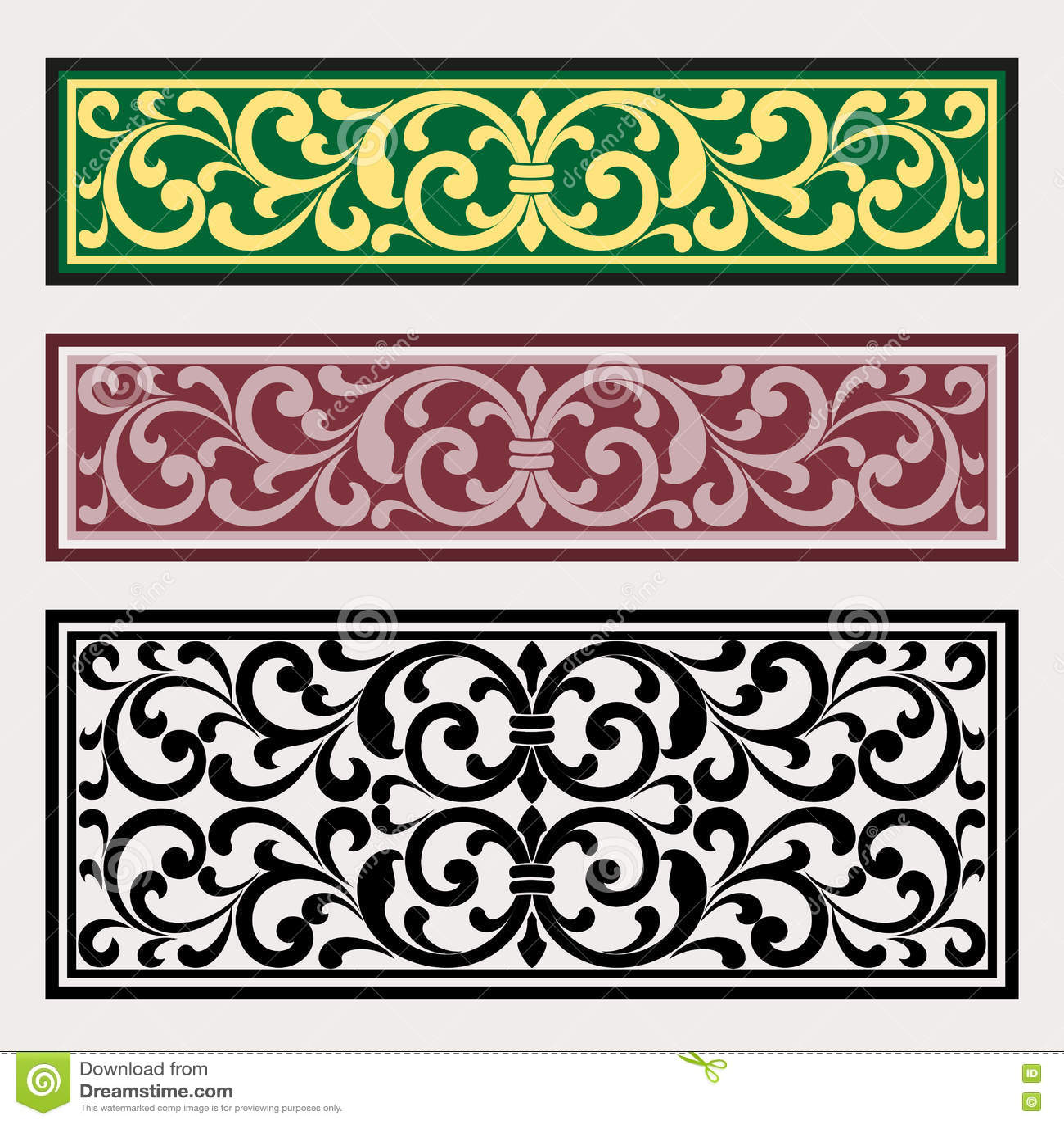 Retro Border Stencils : Vector vintage border frame logo engraving with retro