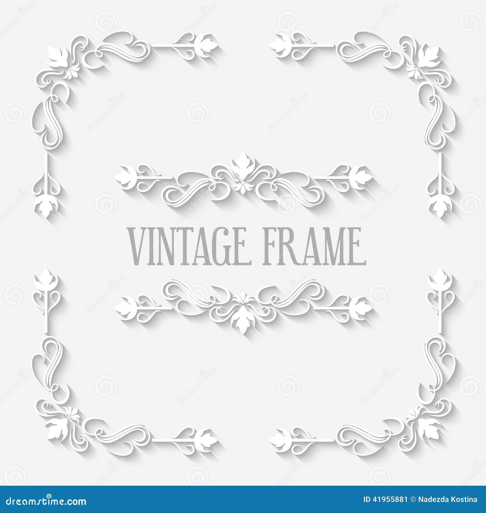 Vector Vintage Border White Frame Stock Vector - Image ...