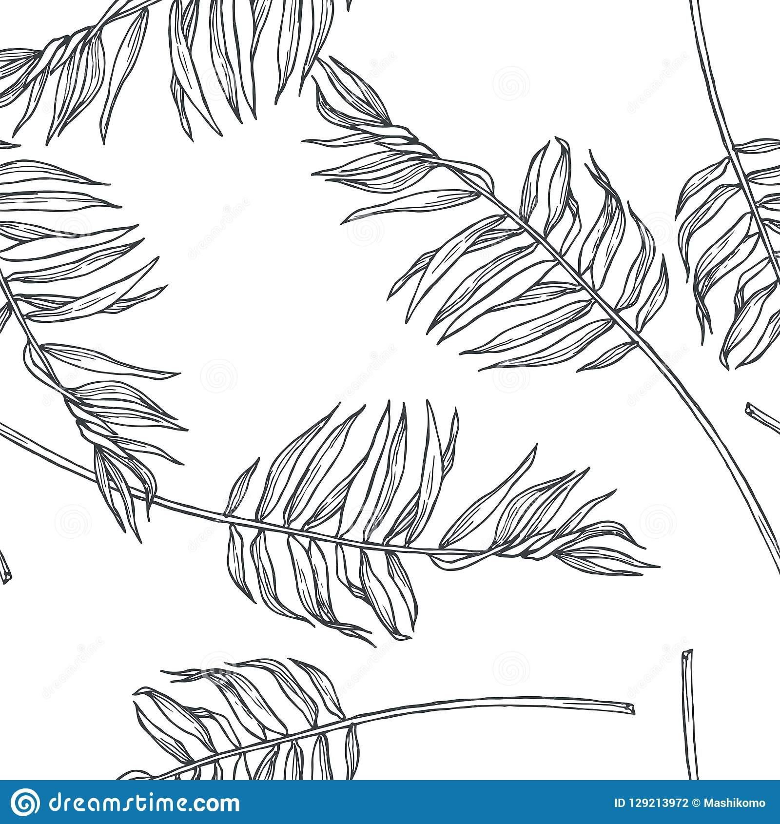 Vector vintage botanical seamless pattern with palm leaves in en