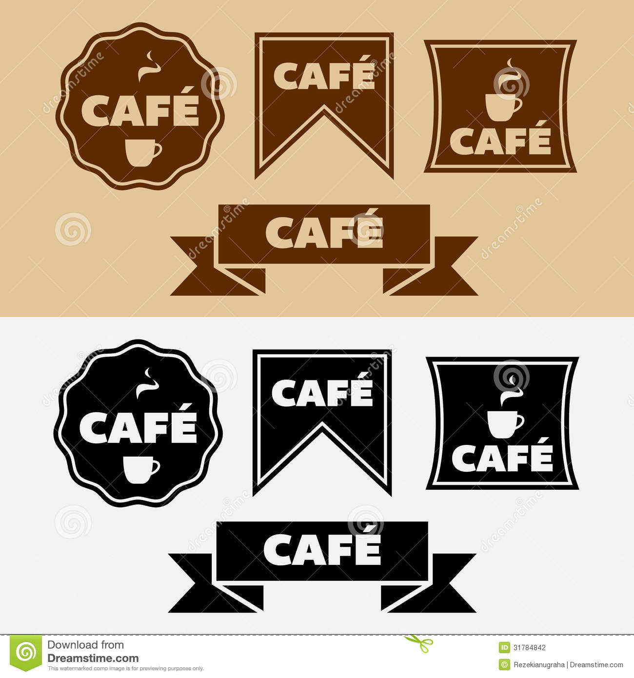vector vintage cafe badges stock photography image 31784842