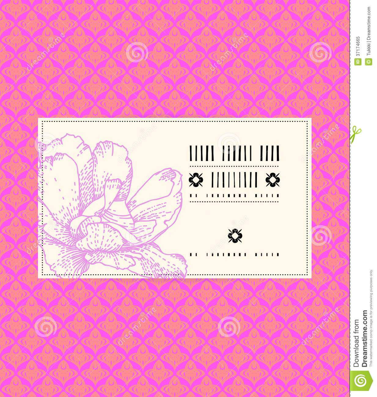 vector vintage card with peony flower stock vector