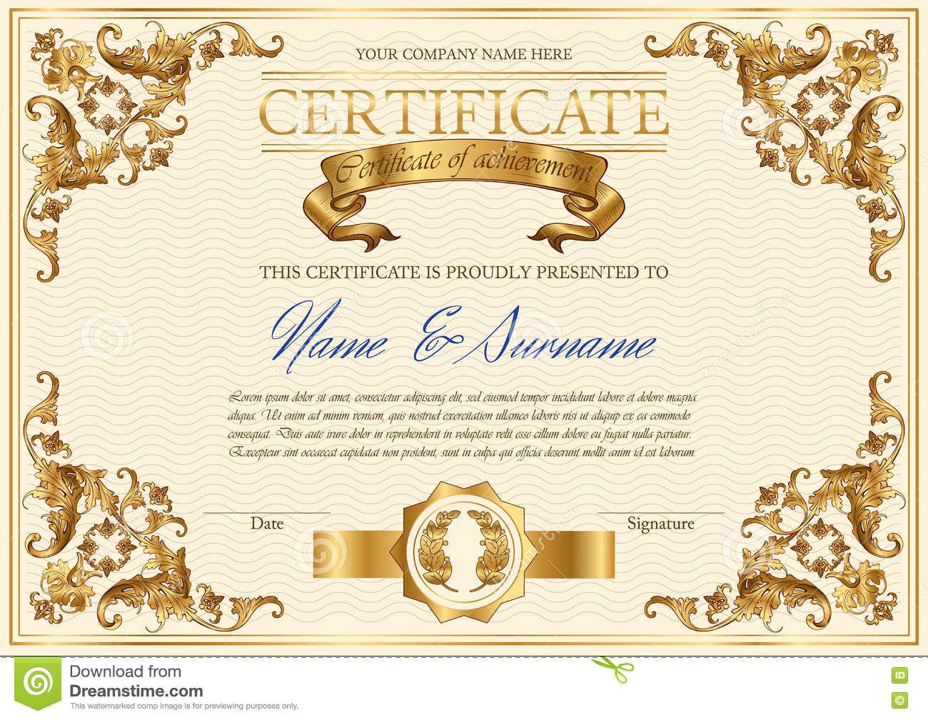 Vector vintage certificate stock vector. Illustration of ...