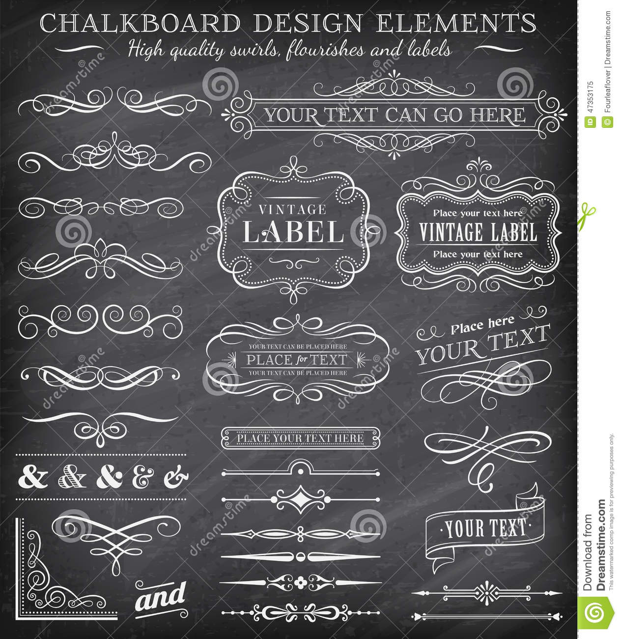 Download free vintage ornaments vintage ornaments and iders - Royalty Free Illustration Download Vector Vintage Chalkboard Labels And Ornaments