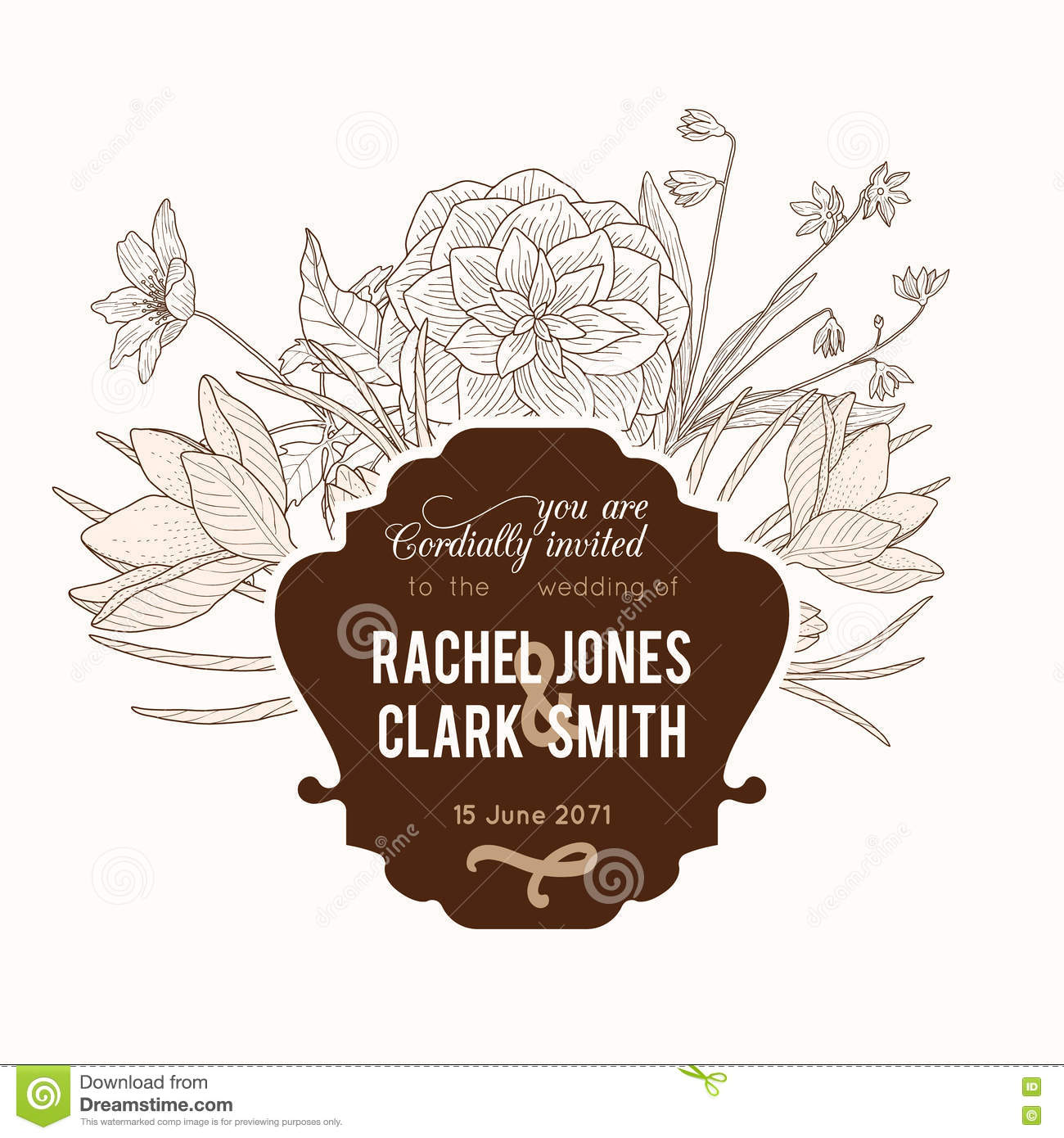 Vector Vintage Chocolate Brown Frame Floral Drawing Wedding ...