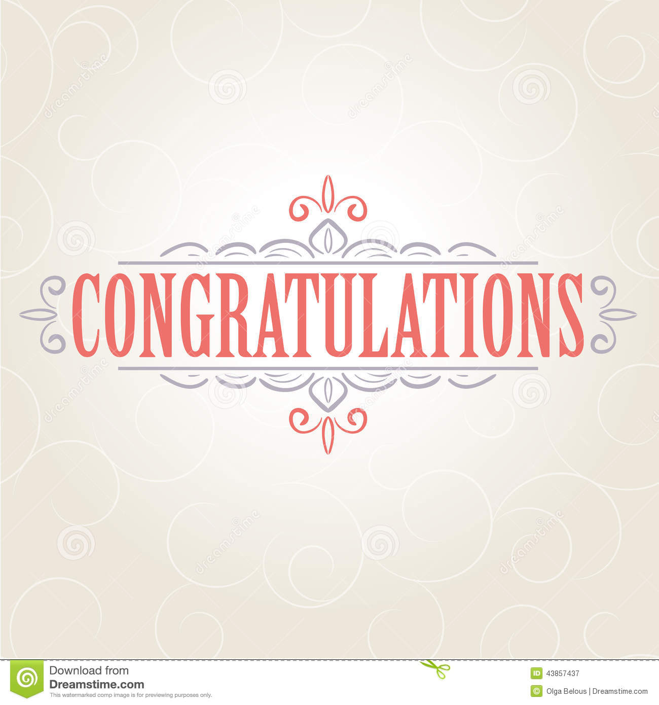 Vector Vintage Congratulations Card Stock Vector Illustration