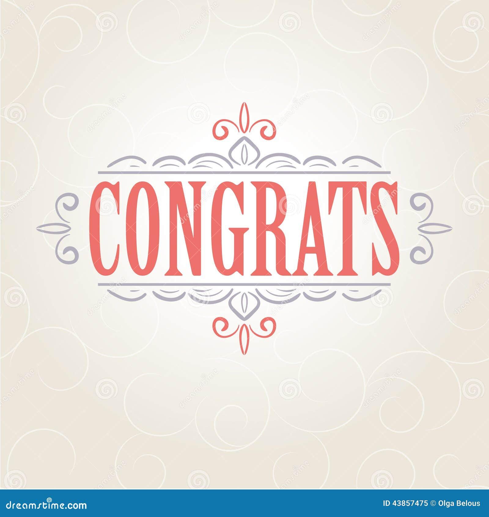 Vector Vintage Congratulations Card Stock Vector - Image ...