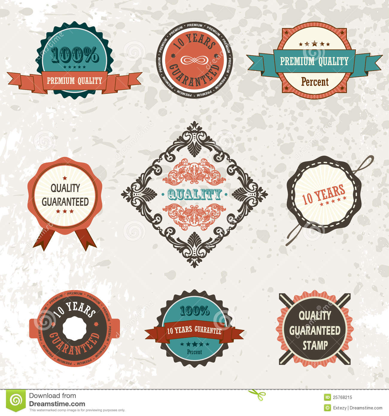 Vector Vintage Decor Elements Ribbon Stamps Royalty Free