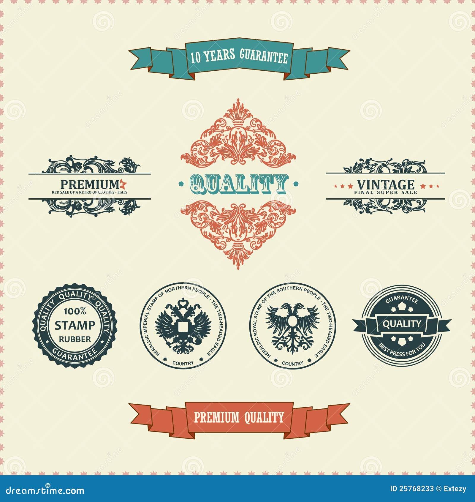 Vector Vintage Decor Elements Ribbon Stamps Stock Photos