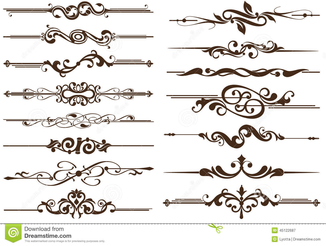 Vector Vintage Elements Dividers Stock Vector Image