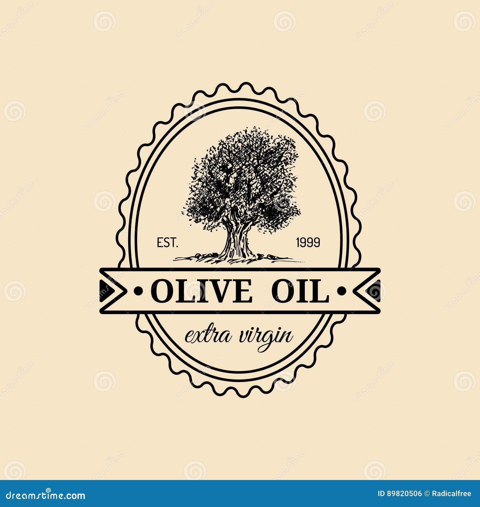 Vector vintage extra virgin olive oil logo. Retro emblem with tree. Hand sketched rural farm production sign.