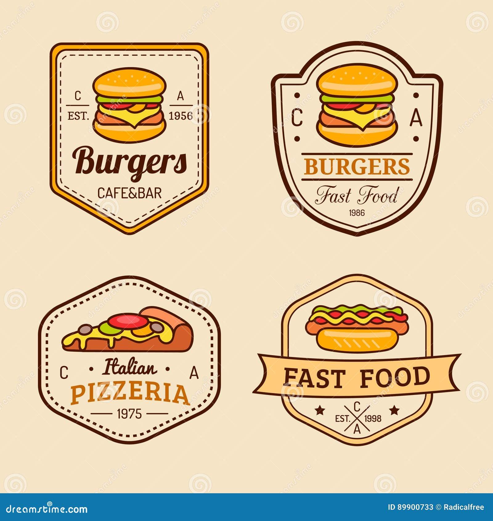 Vector Vintage Fast Food Logo. Retro Hand Drawn Hot Dog ...