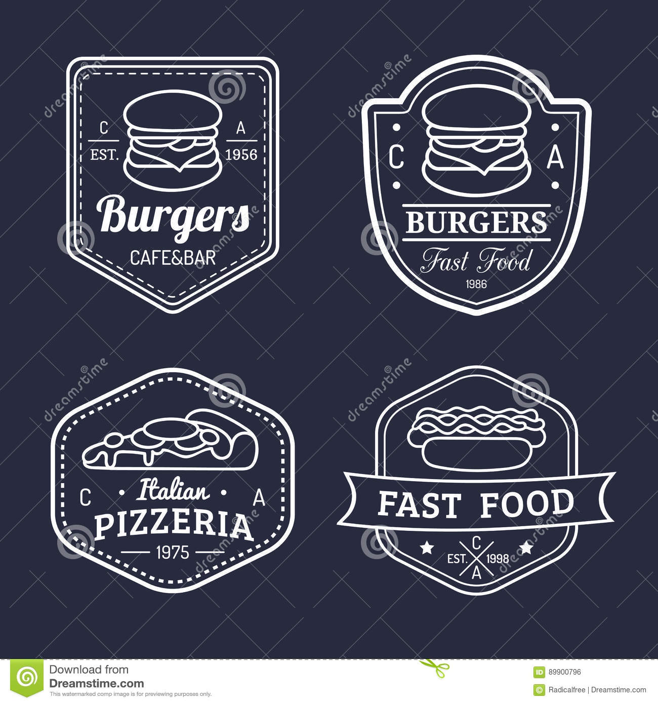 Vector Vintage Fast Food Logo Retro Hand Drawn Hot Dog Label Bistro Icon Street Eatery Emblem