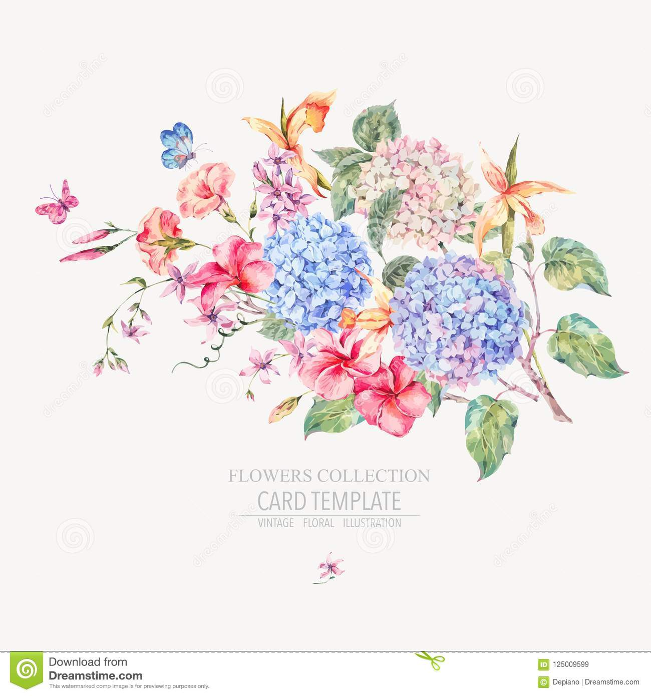 Vector Vintage Floral Greeting Card With Hydrangeas Stock Vector ...