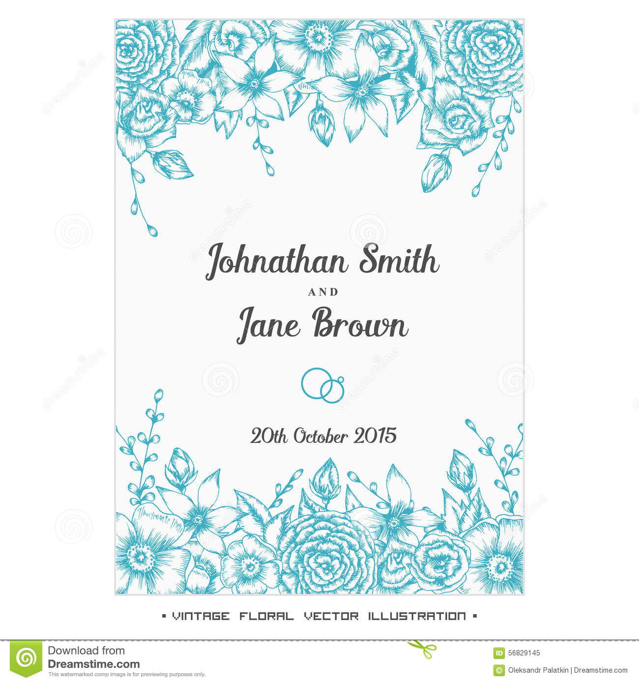 Vector vintage floral wedding invitation stock vector vector vintage floral wedding invitation stopboris Image collections