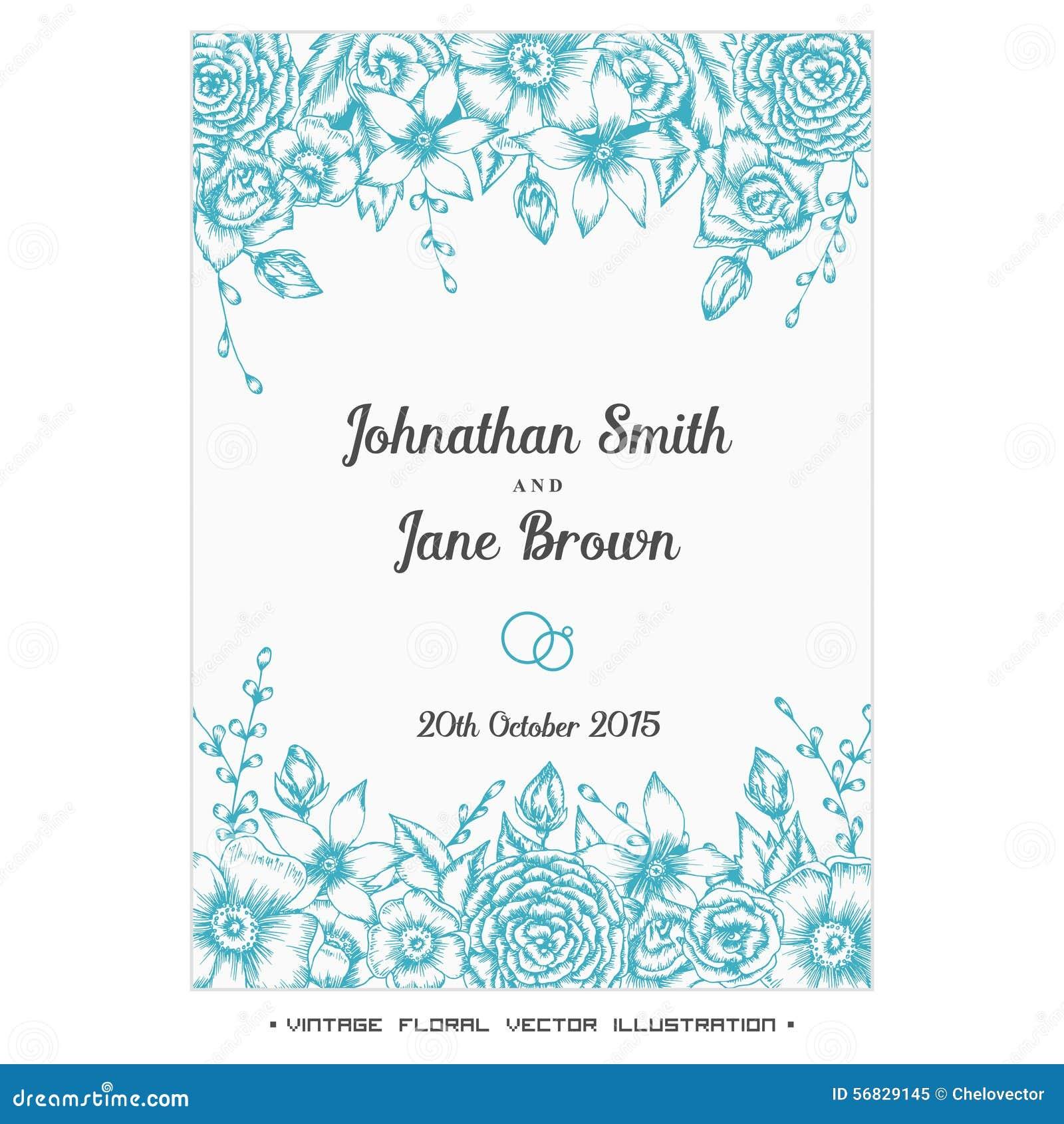 Flower Svg Library Download For Wedding Invitations: Vector Vintage Floral Wedding Invitation Stock Vector