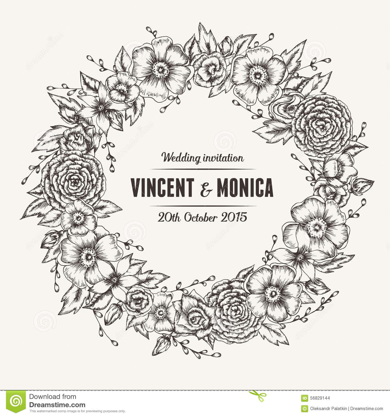 Vector Vintage Floral Wedding Invitation Stock Vector