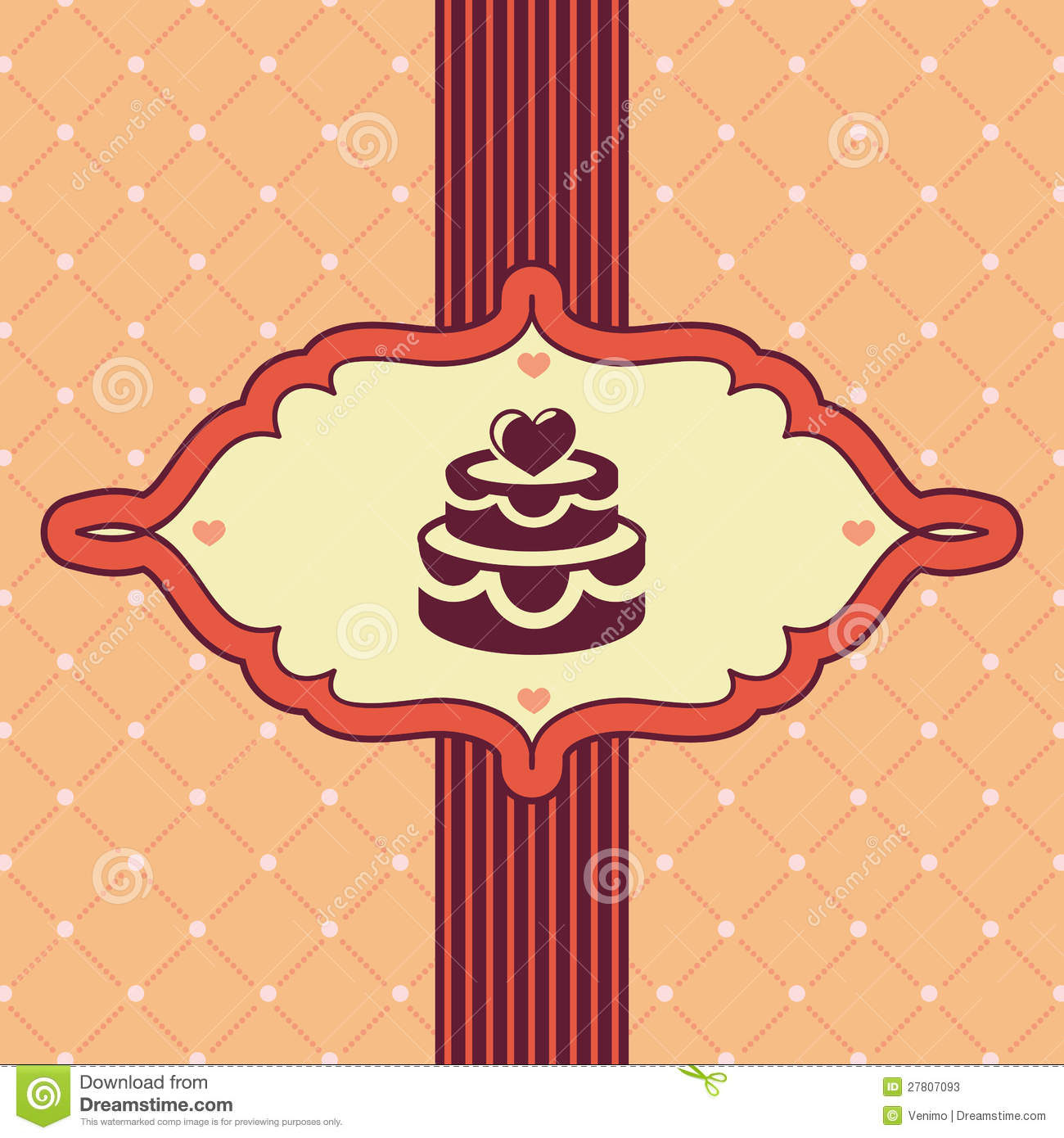 Vector vintage greeting card with wedding cake - background.