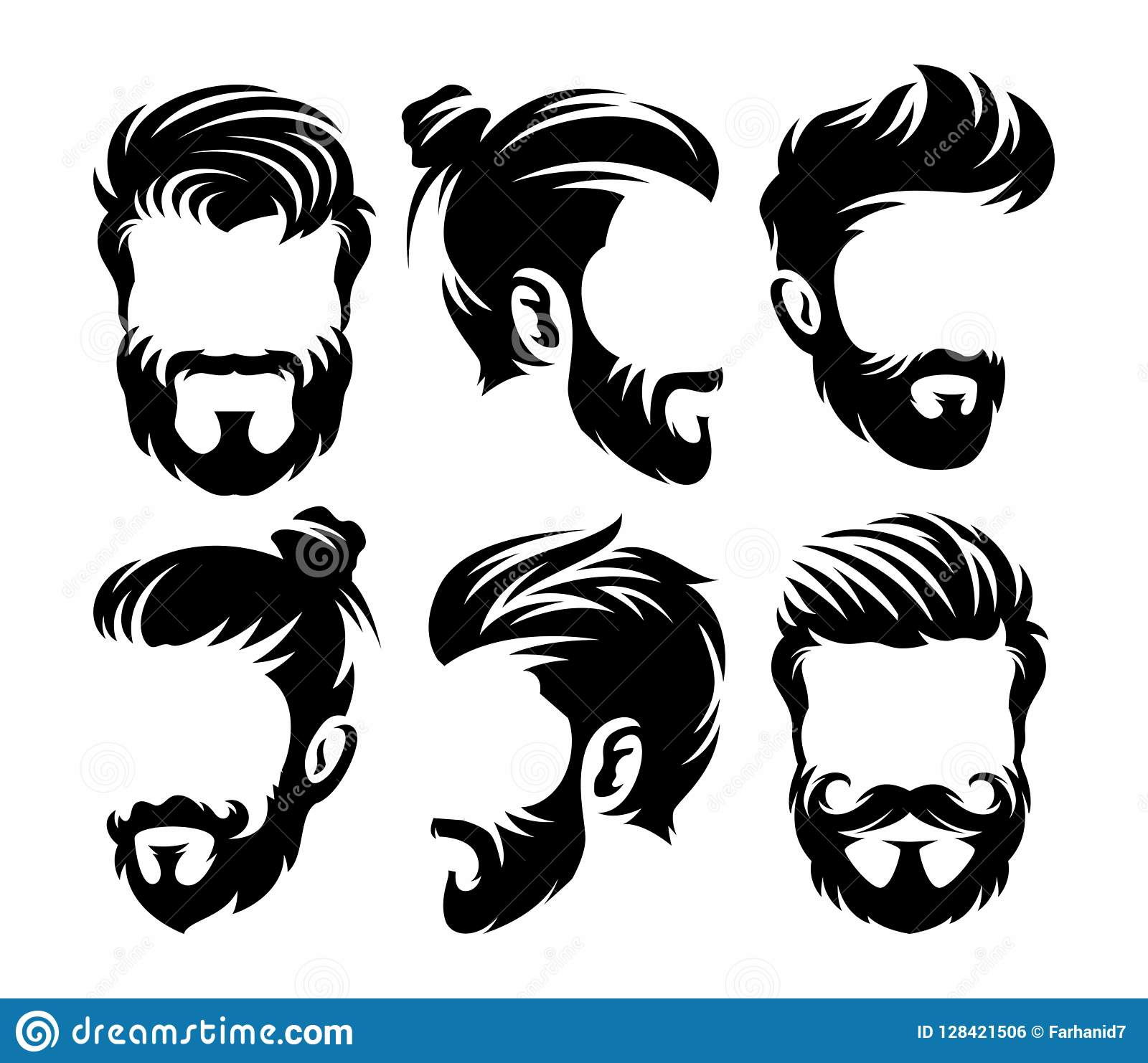 Vector Hairstyles: Vector Vintage Hairstyle Barber Shop Logo For Your Design
