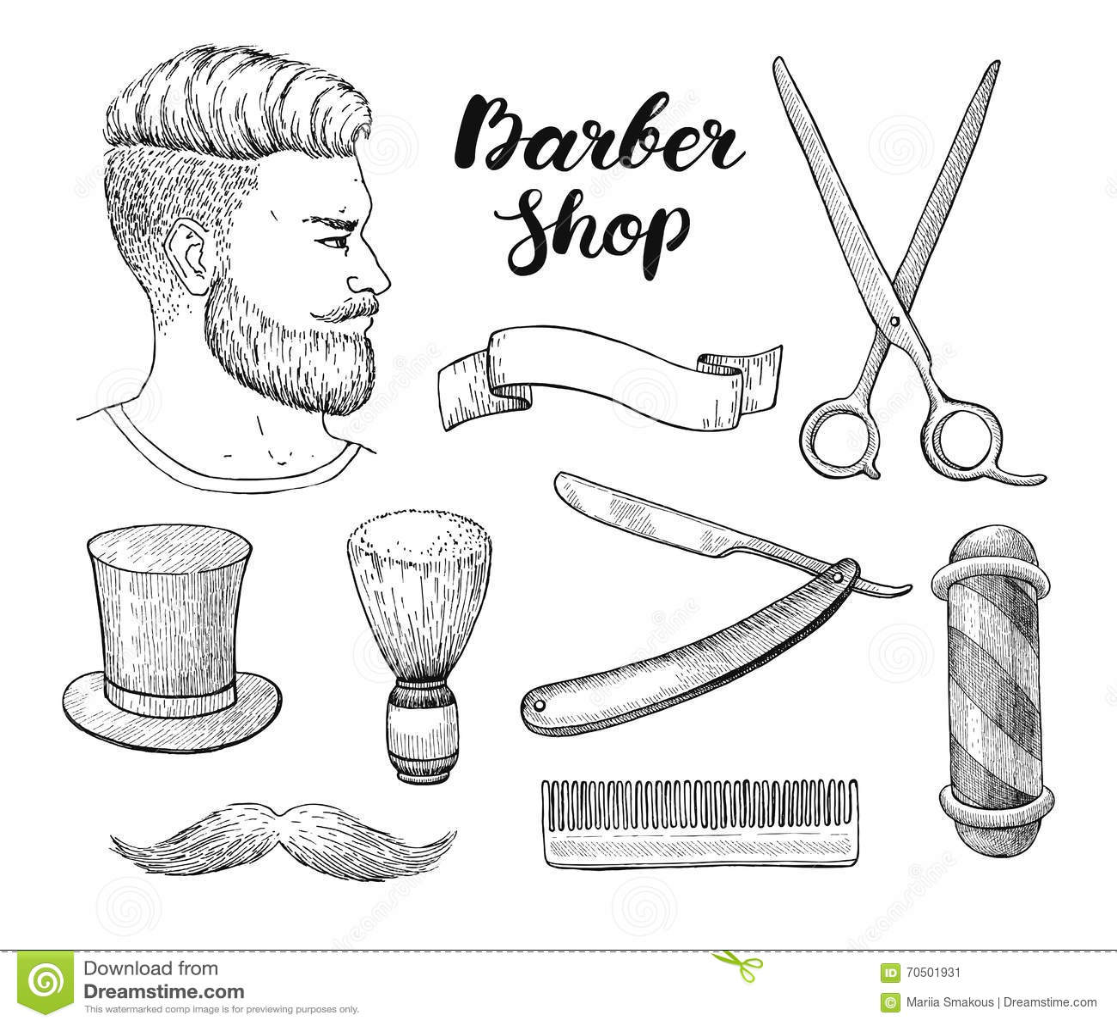 Vector Vintage Hand Drawn Barber Shop Set Detailed