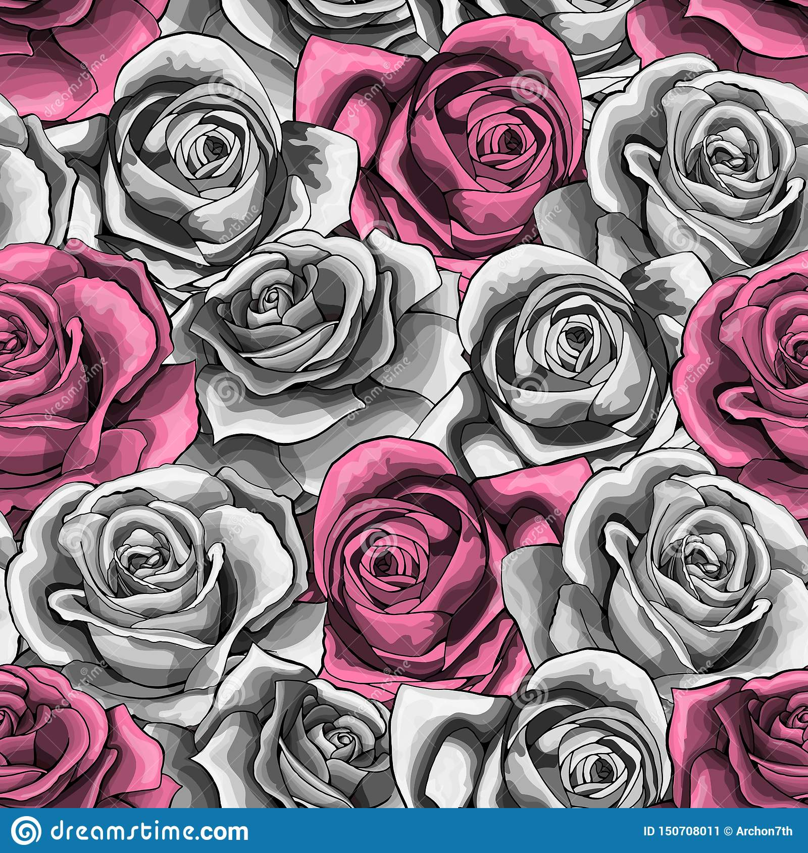 Vector vintage hand drawn rose flower blossom blooming seamless pattern