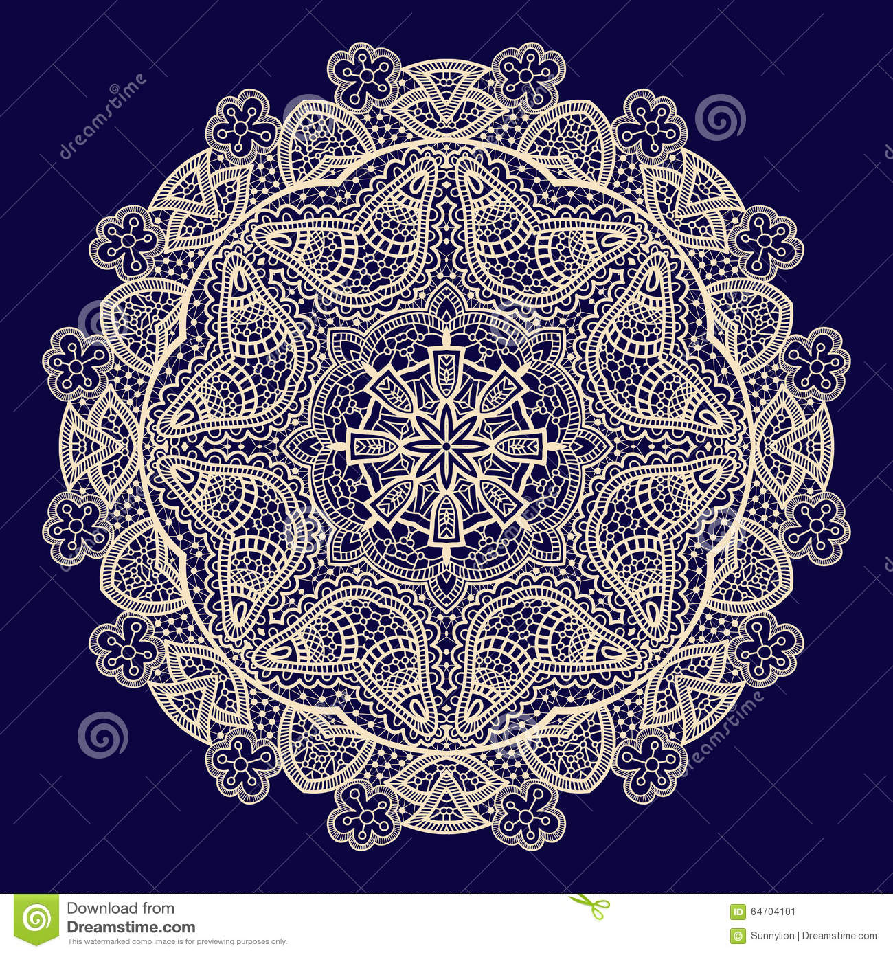 Vector Vintage Handmade Knitted Doily, Lace Pattern Stock Vector ...