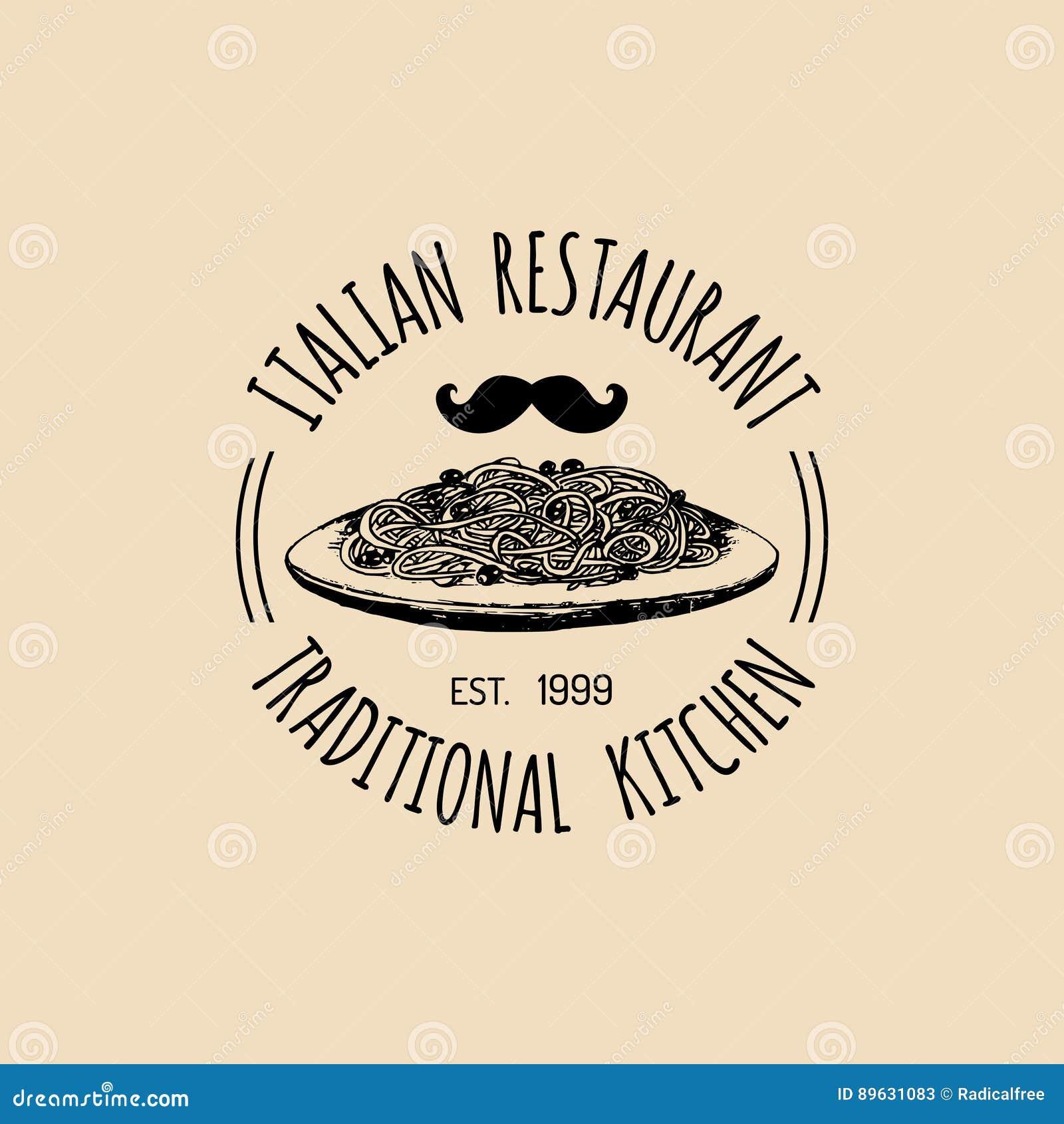 Vector Vintage Hipster Italian Food Logo. Modern Pasta Sign Or Icon. Hand  Drawn Mediterranean