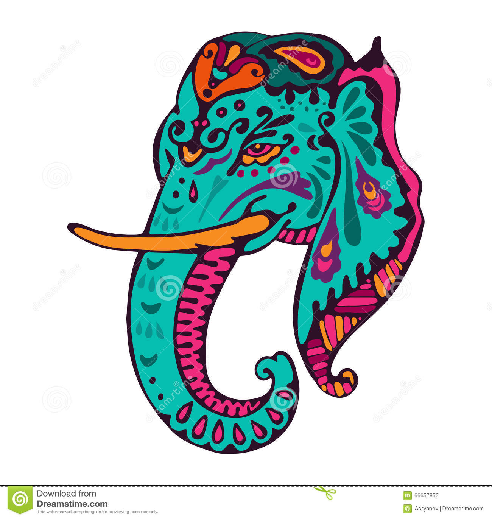 Vector Vintage Indian Elephant Illustration Stock Vector ...
