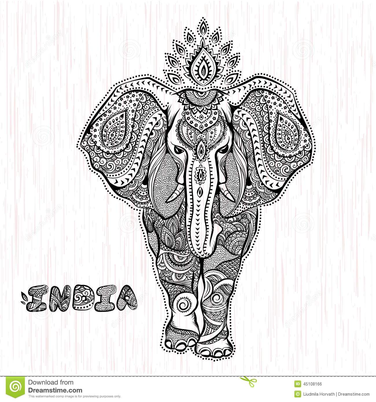 Vector Vintage Indian Elephant Illustration Stock Vector