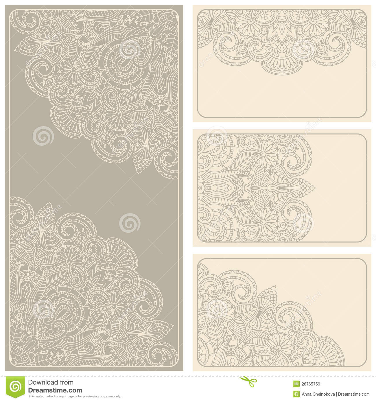 Vector Vintage Invitation Card Set Stock Vector