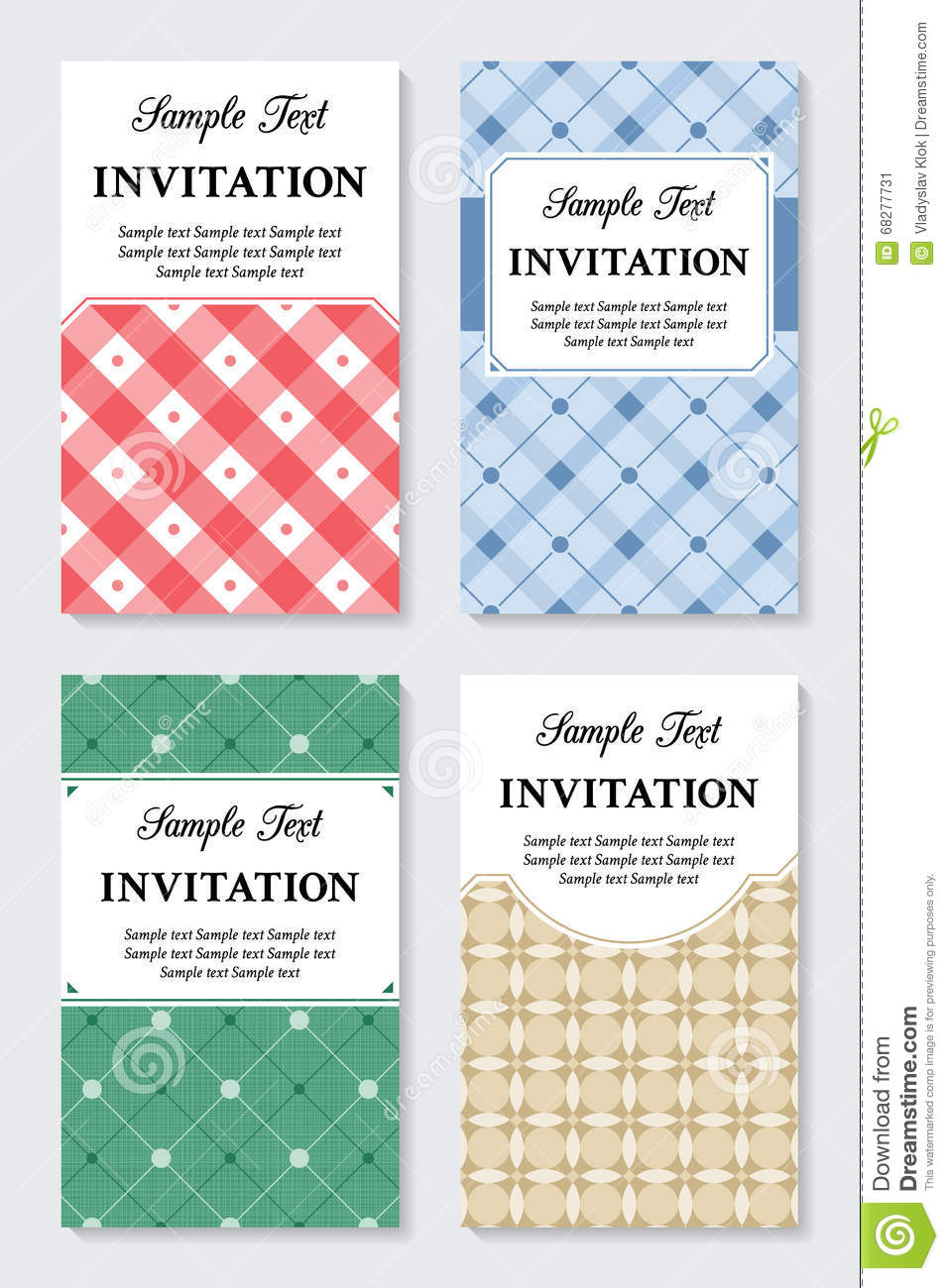 Vector Vintage Invitation Cards Templates Stock Vector