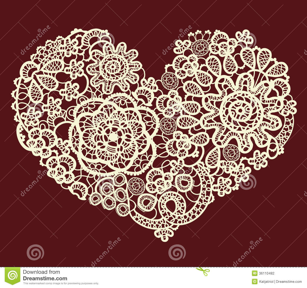 Vector vintage lace heart stock vector. Illustration of ...