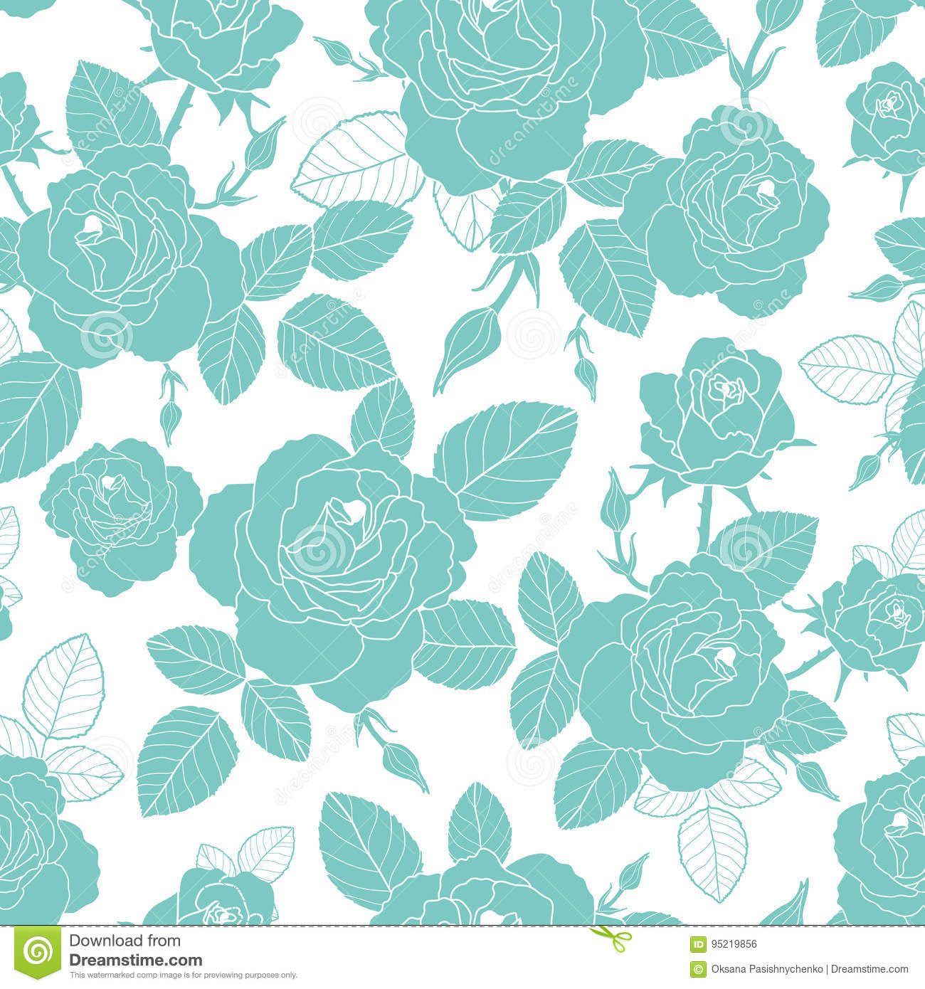 Vector Vintage Light Blue And White Roses And Leaves Seamless Repeat