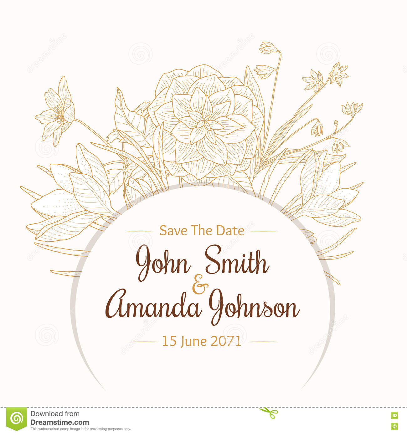 vector vintage light brown beige border frame floral drawing wedding invitation card with stylish flowers and