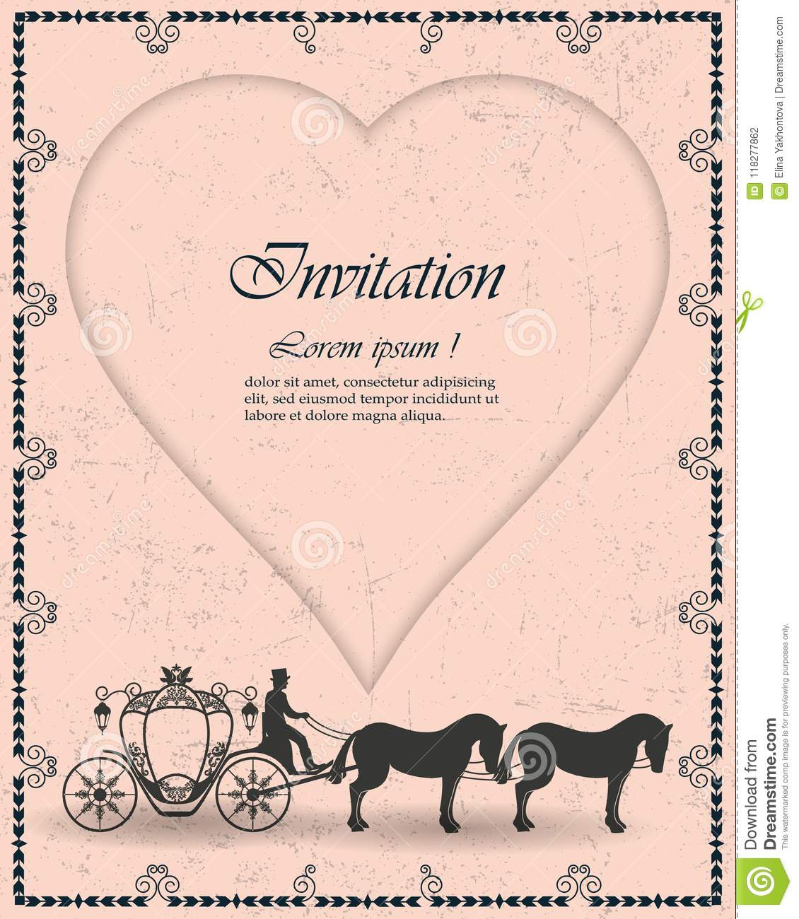 Vector Vintage Luxury Wedding Invitations The Coach And The